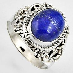 925 silver 5.38cts natural blue lapis lazuli oval solitaire ring size 7 p95824