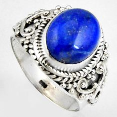 5.07cts natural blue lapis lazuli 925 silver solitaire ring size 7 p95825