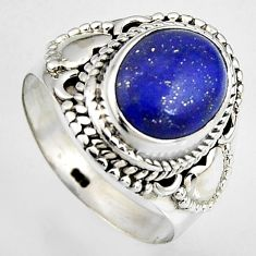5.07cts natural blue lapis lazuli 925 silver solitaire ring size 8 p95827