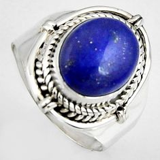 5.31cts natural blue lapis lazuli 925 silver solitaire ring size 7 p95828