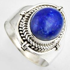 925 silver 5.52cts natural blue lapis lazuli oval solitaire ring size 8 p95830