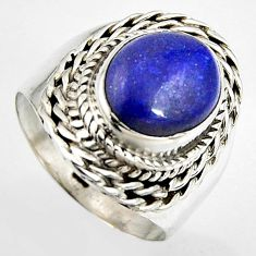 5.53cts natural blue lapis lazuli 925 silver solitaire ring size 7 p95831