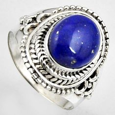 5.31cts natural blue lapis lazuli 925 silver solitaire ring size 8 p95833