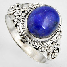 4.92cts natural blue lapis lazuli 925 silver solitaire ring size 8 p95834