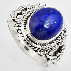5.07cts natural blue lapis lazuli 925 silver solitaire ring size 7.5 p95836