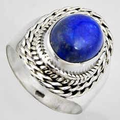 925 silver 5.53cts natural blue lapis lazuli oval solitaire ring size 7 p95837