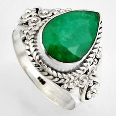 925 silver 4.65cts natural green emerald solitaire ring jewelry size 7 p95848