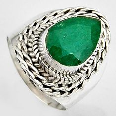 4.38cts natural green emerald 925 silver solitaire ring jewelry size 6.5 p95850