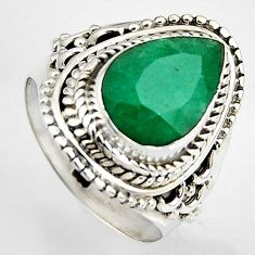 4.73cts natural green emerald 925 silver solitaire ring jewelry size 6.5 p95852