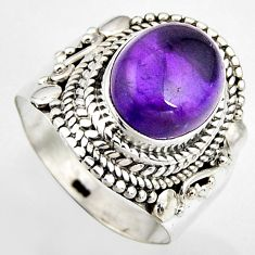 5.06cts natural purple amethyst 925 silver solitaire ring jewelry size 7 p95862