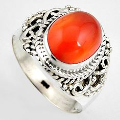 5.16cts natural honey onyx 925 sterling silver solitaire ring size 7.5 p95868