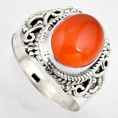 5.28cts natural honey onyx 925 sterling silver solitaire ring size 8 p95869