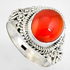 5.16cts natural honey onyx 925 sterling silver solitaire ring size 7 p95873