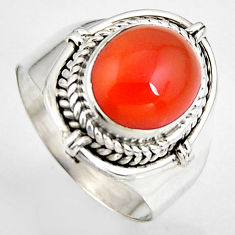 5.13cts natural honey onyx 925 sterling silver solitaire ring size 7.5 p95878