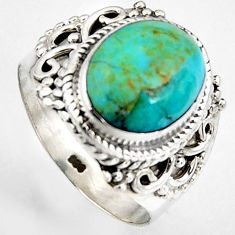 5.07cts natural green kingman turquoise 925 silver solitaire ring size 7 p95888