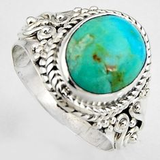 5.16cts natural green kingman turquoise silver solitaire ring size 6.5 p95896