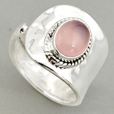 3.19cts natural rose quartz 925 silver adjustable solitaire ring size 8 p95914