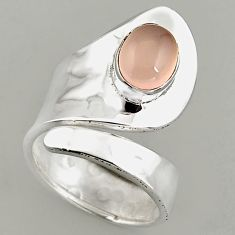 3.28cts natural rose quartz 925 silver adjustable solitaire ring size 7.5 p95916