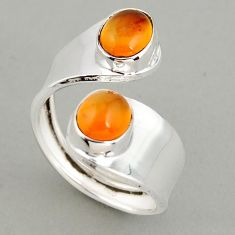 6.31cts natural cornelian 925 silver adjustable solitaire ring size 9 p95922