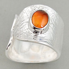 3.38cts natural cornelian 925 silver adjustable solitaire ring size 8.5 p95923