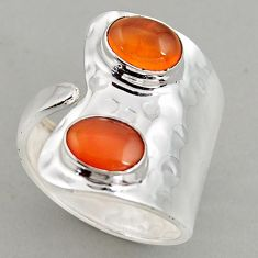 6.60cts natural orange cornelian silver adjustable solitaire ring size 10 p95929