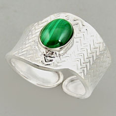 925 silver 3.19cts natural malachite adjustable solitaire ring size 8.5 p95939
