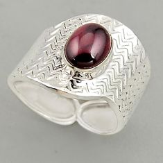 3.25cts natural red garnet 925 silver adjustable solitaire ring size 8 p95942