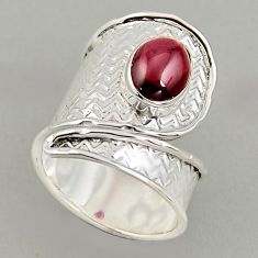 3.14cts natural red garnet 925 silver adjustable solitaire ring size 7.5 p95952