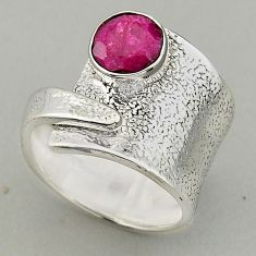 925 silver 3.28cts natural red ruby adjustable solitaire ring size 7.5 p95967