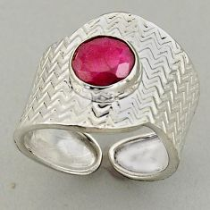 925 silver 3.13cts natural red ruby adjustable solitaire ring size 8 p95971