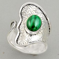 925 silver 3.29cts natural malachite adjustable solitaire ring size 8.5 p95979