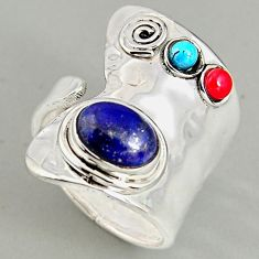 4.55cts natural blue lapis lazuli 925 silver adjustable ring size 7.5 p96006