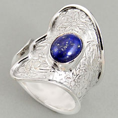 3.01cts natural lapis lazuli 925 silver adjustable solitaire ring size 7 p96017