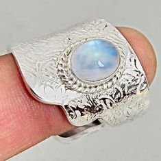3.24cts natural moonstone 925 silver adjustable solitaire ring size 7.5 p96018