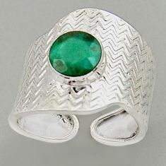 3.41cts natural emerald 925 silver adjustable solitaire ring size 8.5 p96062