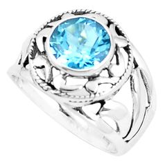 3.36cts natural blue topaz 925 sterling silver solitaire ring size 7 p9607