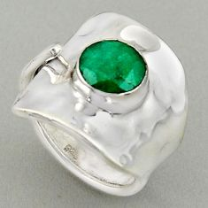 925 silver 3.50cts natural green emerald adjustable solitaire ring size 5 p96073