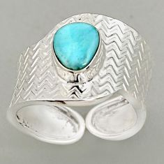 2.33cts natural blue larimar 925 silver adjustable solitaire ring size 8 p96099