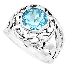 925 sterling silver 2.92cts natural blue topaz solitaire ring size 7 p9610