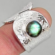 3.01cts natural labradorite 925 silver adjustable solitaire ring size 9 p96101