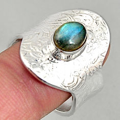 2.23cts natural blue labradorite silver adjustable solitaire ring size 8 p96103
