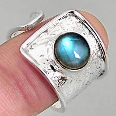 3.41cts natural labradorite 925 silver adjustable solitaire ring size 8.5 p96105