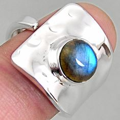 3.28cts natural labradorite 925 silver adjustable solitaire ring size 8 p96110