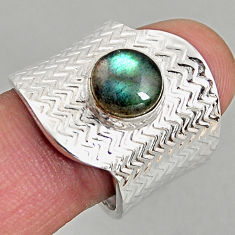3.24cts natural labradorite 925 silver adjustable solitaire ring size 8.5 p96118