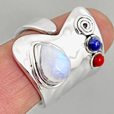 5.30cts natural rainbow moonstone 925 silver adjustable ring size 8 p96122