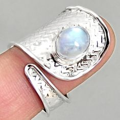 3.41cts natural moonstone 925 silver adjustable solitaire ring size 8.5 p96123