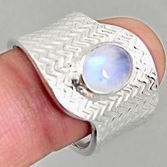 3.35cts natural rainbow moonstone silver adjustable solitaire ring size 8 p96130
