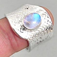 2.11cts natural rainbow moonstone silver adjustable solitaire ring size 8 p96138