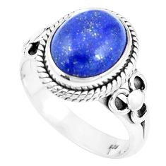 5.30cts natural blue lapis lazuli 925 silver solitaire ring jewelry size 9 p9630