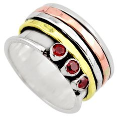 1.12cts victorian natural red garnet silver rose gold spinner ring size 9 p96301